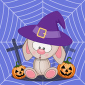 Halloween Rabbit with pumpkin — Stock Vector