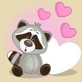 Raccoon with hearts — Stock Vector