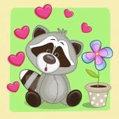 Raccoon with heart and flower — Stockvektor