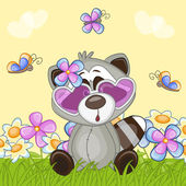 Raccoon with flowers — Stock Vector