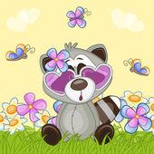 Raccoon with flowers — Vecteur
