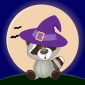 Halloween Raccoon in hat — Stock Vector