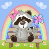 Raccoon with flower — Stock vektor