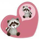 Dreaming Raccoon in heart — Stock Vector