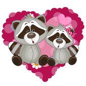 Two Cute Raccoons — Stock Vector