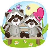 Cute Lovers Raccoons — Stock vektor