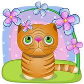 Kočka s květinami — Stock vektor