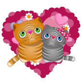Two Cats in heart — Stock Vector