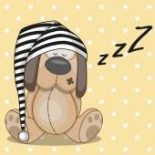 Sleeping dog in hat — Stock Vector