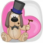 Dog with heart  in hat — Stock Vector