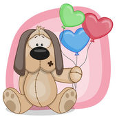 Puppy with baloons — Stockvector