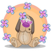 Perro con flores — Vector de stock
