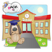 Dog and school — Stock Vector