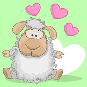 Sheep with hearts — Stock Vector