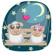 Cute Lovers sheep — Stock Vector