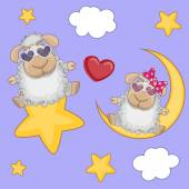 Cute Lovers Sheep — Stock Vector