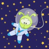 Cute  Snail astronaut — Vector de stock