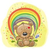 Bear with rainbow — Stock Vector