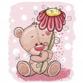 小熊与花 — 图库矢量图片