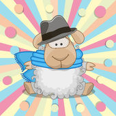 Sheep with hat — Stock Vector
