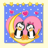 Cute Lovers Penguins — Stock Vector