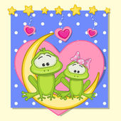 Cute Lovers Frogs — Stock Vector