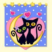 Cute Lovers Cats — Stock Vector
