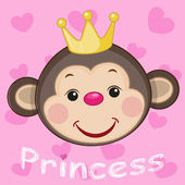 Cute Princess Monkey — Stock Vector