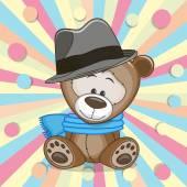 Teddybeer met hoed — Stockvector