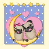 Lovers Pug Dogs — Stock Vector