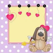 Cupid Dog with frame — Vetor de Stock