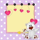 Cupid Polar Bear with frame — Stock Vector
