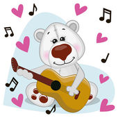 Polar Bear with guitar — Stock Vector