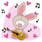 Rabbit with guitar — Stock Vector