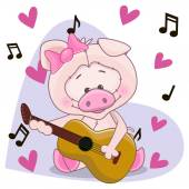 Pig with guitar — Stock Vector