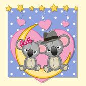 Cute Lovers Koalas — Stock Vector