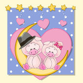 Cute Lovers Pigs — Stock Vector