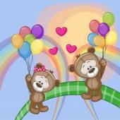 Cute Lovers Bears — Stock Vector