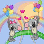 Cute Lovers Koalas — Stockvector