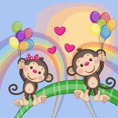Cute Lovers Monkeys — Stockvektor
