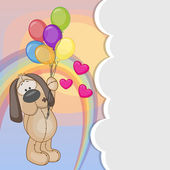 Dog with balloons — Vetor de Stock