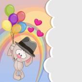 Rabbit with balloons — Vector de stock