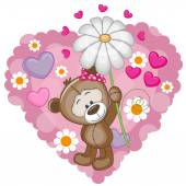 Teddy Bear with hearts and flower — Stok Vektör