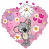 Koala with hearts and flower — Vettoriale Stock