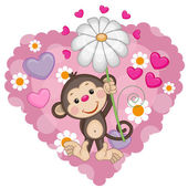 Monkey with hearts and flower — Stock Vector