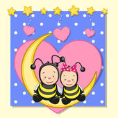 Lovers Bees — Stock Vector
