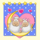 Lovers Sheep — Stock Vector