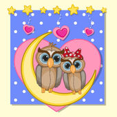 Lovers Owls — Stock Vector