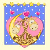 Lovers Giraffes — Stock Vector