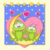 Lovers Frogs — Stock Vector